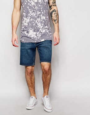 Cheap Monday Denim Shorts Line Shorts Anti Blue Mid Wash