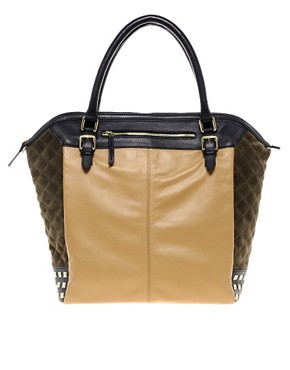 Image 1 ofASOS Leather Side Quilted Shopper