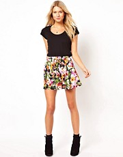 ASOS Skater Skirt in Pansy Print