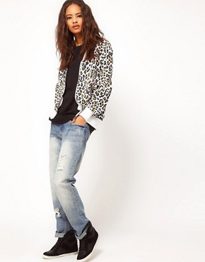 Image 4 ofASOS Bomber in Cheetah Print