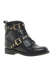 ASOS APRIL SHOWERS Leather Studded Biker Boots