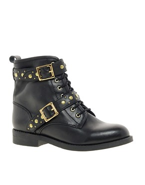Image 1 ofASOS APRIL SHOWERS Leather Studded Biker Boots