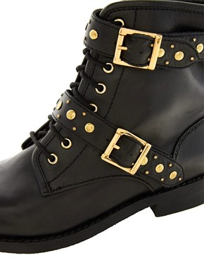 Image 2 ofASOS APRIL SHOWERS Leather Studded Biker Boots