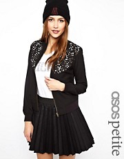 ASOS PETITE Exclusive Bomber Jacket With Studs
