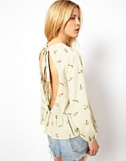 ASOS Top With Floral Print And Cutout Back