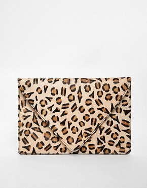 Image 1 of ASOS Leopard Print Ponyskin Clutch Bag