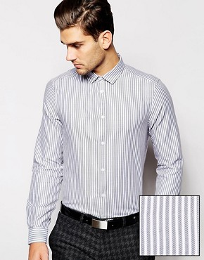 ASOS Smart Shirt In Long Sleeve With Twill Stripe