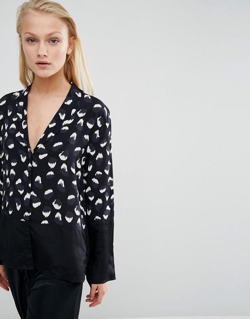 ASOS Pajama Blouse in Blocked Animal Print - Multi