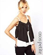 ASOS PETITE Exclusive Cami Top With Button Front Ruffle