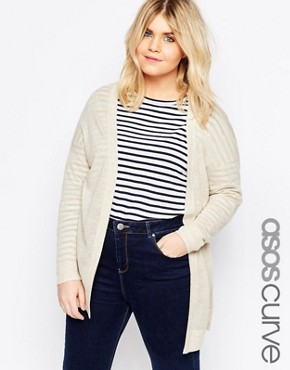 ASOS CURVE Fine Cardigan in Linen Mix