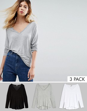 ASOS The New Forever T-Shirt With Long Sleeves and Dip Back 3 Pack Save 15%