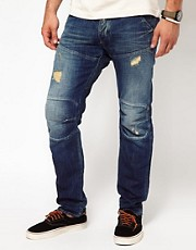 G-Star  Elwood 3D  Locker und tief sitzende Jeans in mittlerer Waschung im Distressed-Look