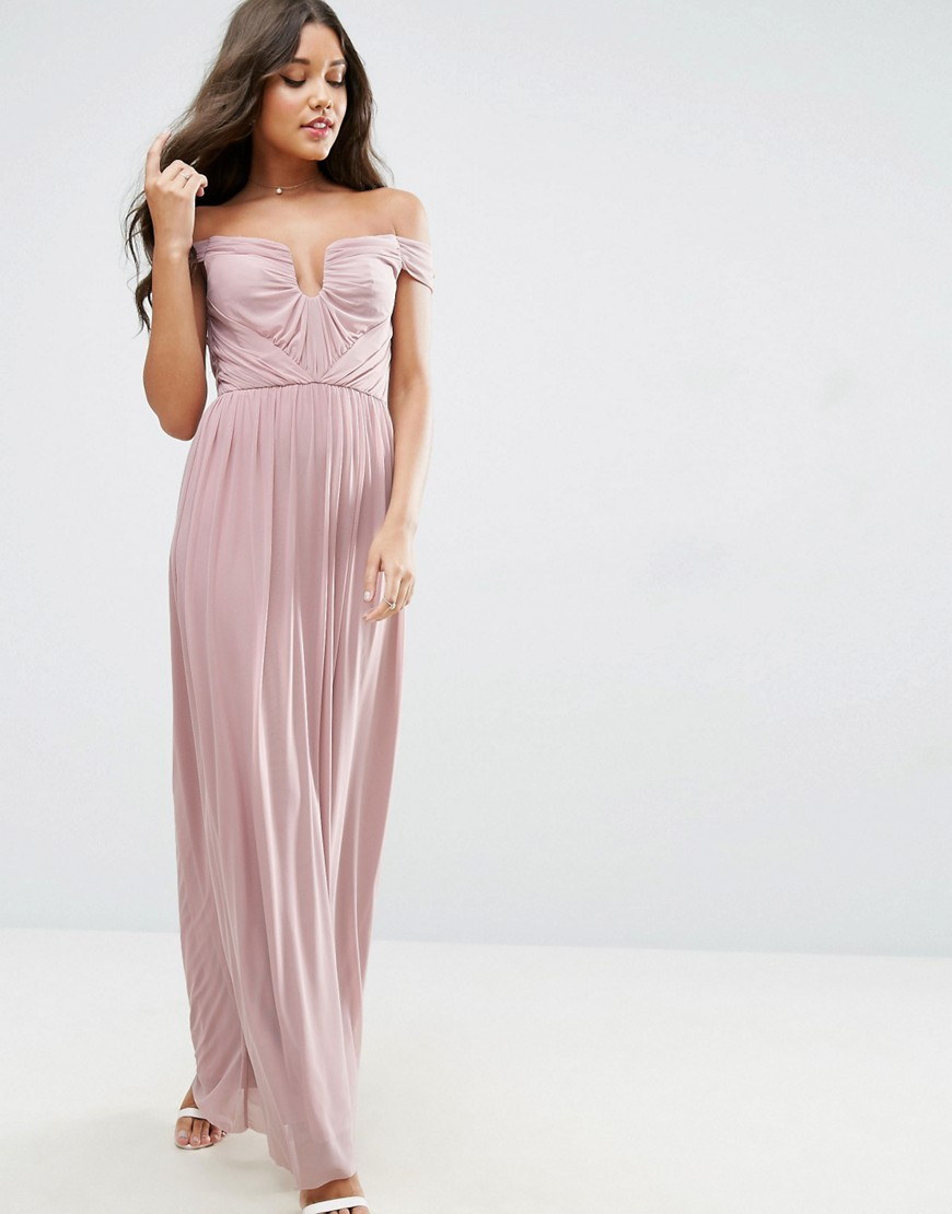 ASOS WEDDING Ruched Mesh Bardot Maxi Dress - Dusky pink
