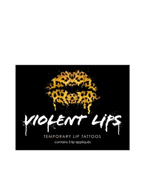 Image 3 ofViolent Lips Temporary Lip Tattoos - Animal Print