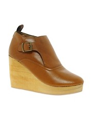 Sole Society Leather Stu Wedge Boots