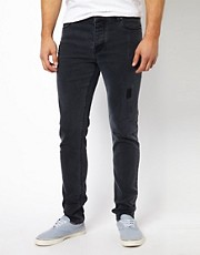 ASOS Skinny Jean In Ripped Black
