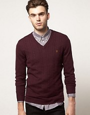 Farah Vintage Jumper with Cable Front
