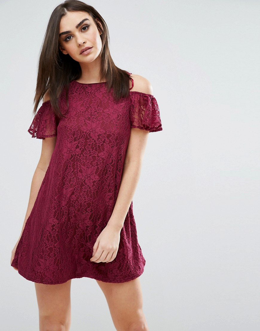 Ax Paris Cold Shoulder Smock Dress - Purple