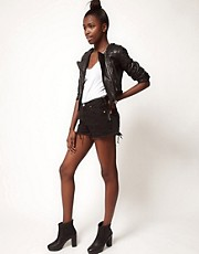 Reclaimed Vintage Levi&#39;s Shorts With High Waist In Washed Black