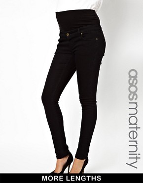 Image 1 of ASOS Maternity Black Slim Fit Jeans With Jersey Waistband
