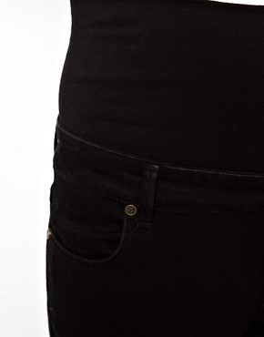 Image 3 of ASOS Maternity Black Slim Fit Jeans With Jersey Waistband