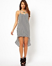 Rare Stripe Vest Dress With Hi Lo Hem