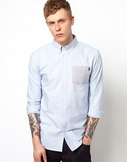 Huf Shirt Long Sleeve Oxford Contrast Pocket