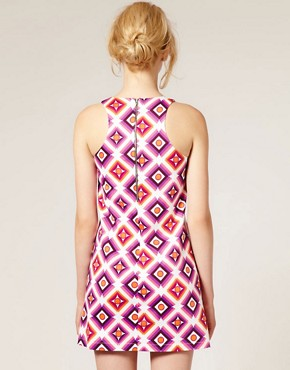 Image 2 ofASOS Printed Shift Dress with High Cut Neck