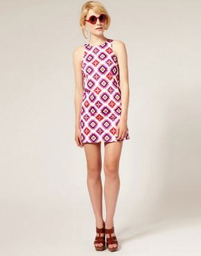 Image 4 ofASOS Printed Shift Dress with High Cut Neck