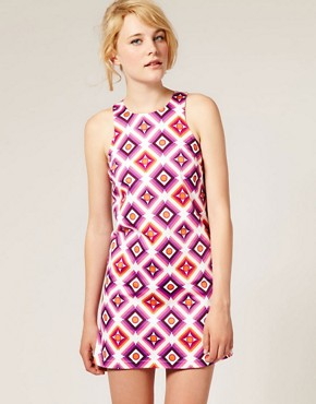 Image 1 ofASOS Printed Shift Dress with High Cut Neck