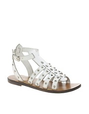 KG Mobster Leather White Studded Flat Sandals