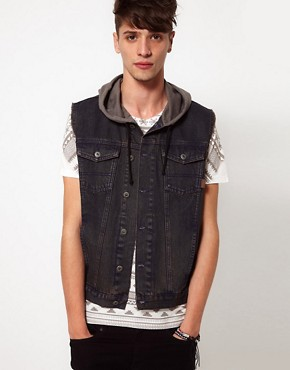 Image 1 ofASOS Sleeveless Denim Jacket With Hood