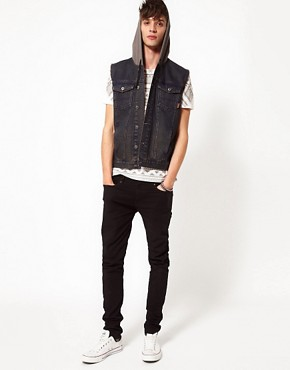 Image 4 ofASOS Sleeveless Denim Jacket With Hood