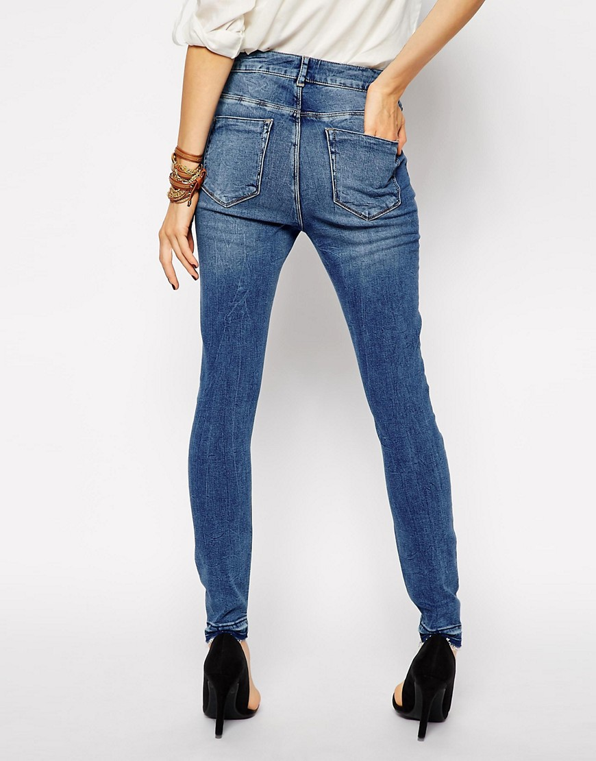 Image 2 of ASOS Ridley Skinny Ankle Grazer Jeans in Worker Mid Wash Blue with Let Down Hem