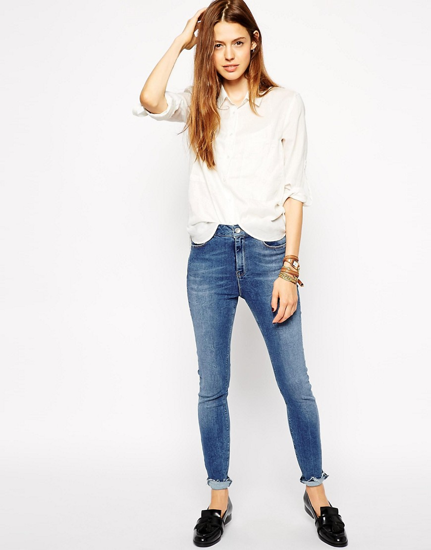 Image 4 of ASOS Ridley Skinny Ankle Grazer Jeans in Worker Mid Wash Blue with Let Down Hem