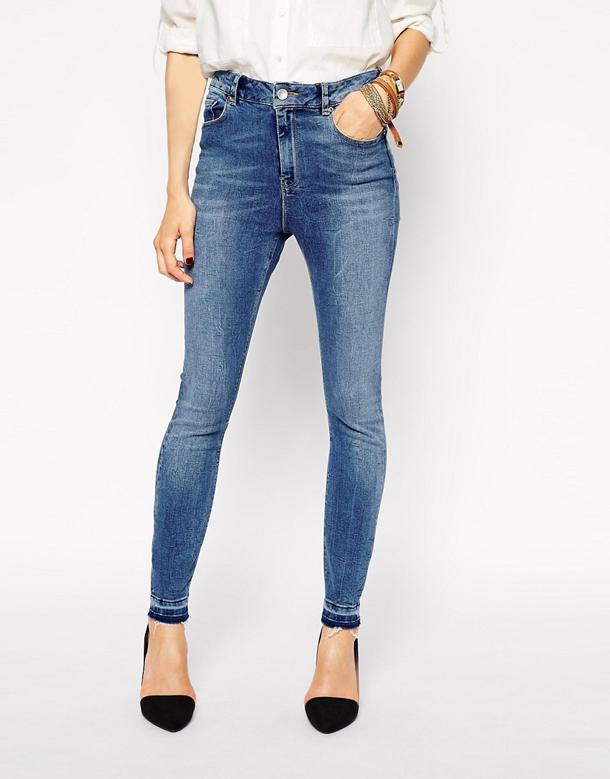 Image 1 of ASOS Ridley Skinny Ankle Grazer Jeans in Worker Mid Wash Blue with Let Down Hem
