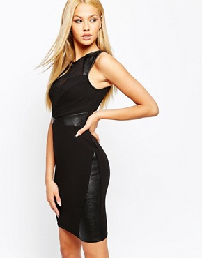 Lipsy Bodycon Dress With PU And Mesh Inserts