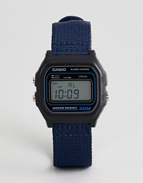 Casio W-59B-2AVEF Digital Canvas Watch In Navy