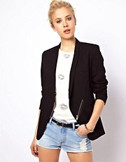 ASOS Premium Blazer with Zip Detail and Slim Lapel