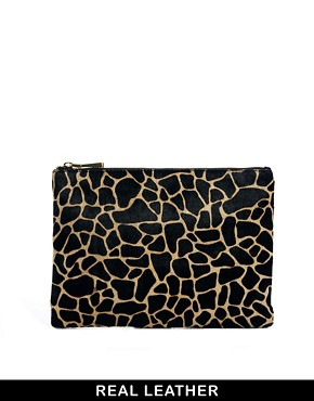 Image 1 of ASOS Leather Clutch Bag With Pony Giraffe Print