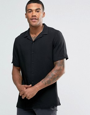 River Island Revere Collar Shirt In Black In Regular Fit