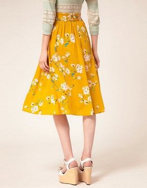 Image 2 of Warehouse Yellow Floral Skirt