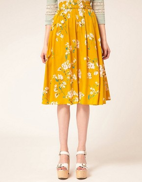 Image 4 of Warehouse Yellow Floral Skirt