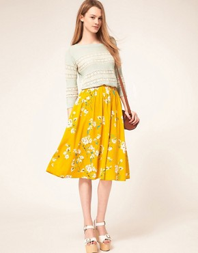 Image 1 of Warehouse Yellow Floral Skirt