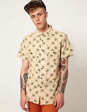 Afends Shirt Dr Squiz Short Sleeve All Over Palm Print