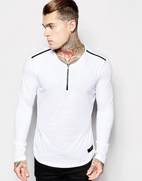 Religion Long Sleeve Top with Zip Neck & Leather Detail