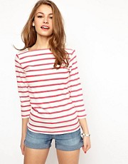 A Wear Stripe T-Shirt With Broderie Detail