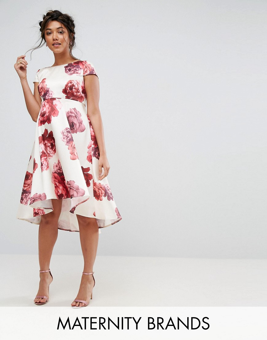 Chi Chi London Maternity Floral Midi Dress With Dip Hem - Multi