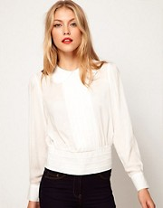 ASOS Blouse With Pintuck Placket And Banded Hem