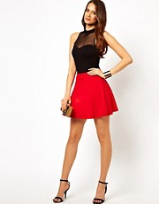 Lipsy Skater Skirt in Textured Jersey